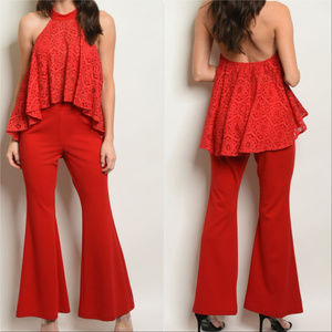 Pants - Pants and Top Red 2 piece Set